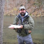 Greg Safford with an 18&quot; rainbow caught during their day trip to the Jackson River